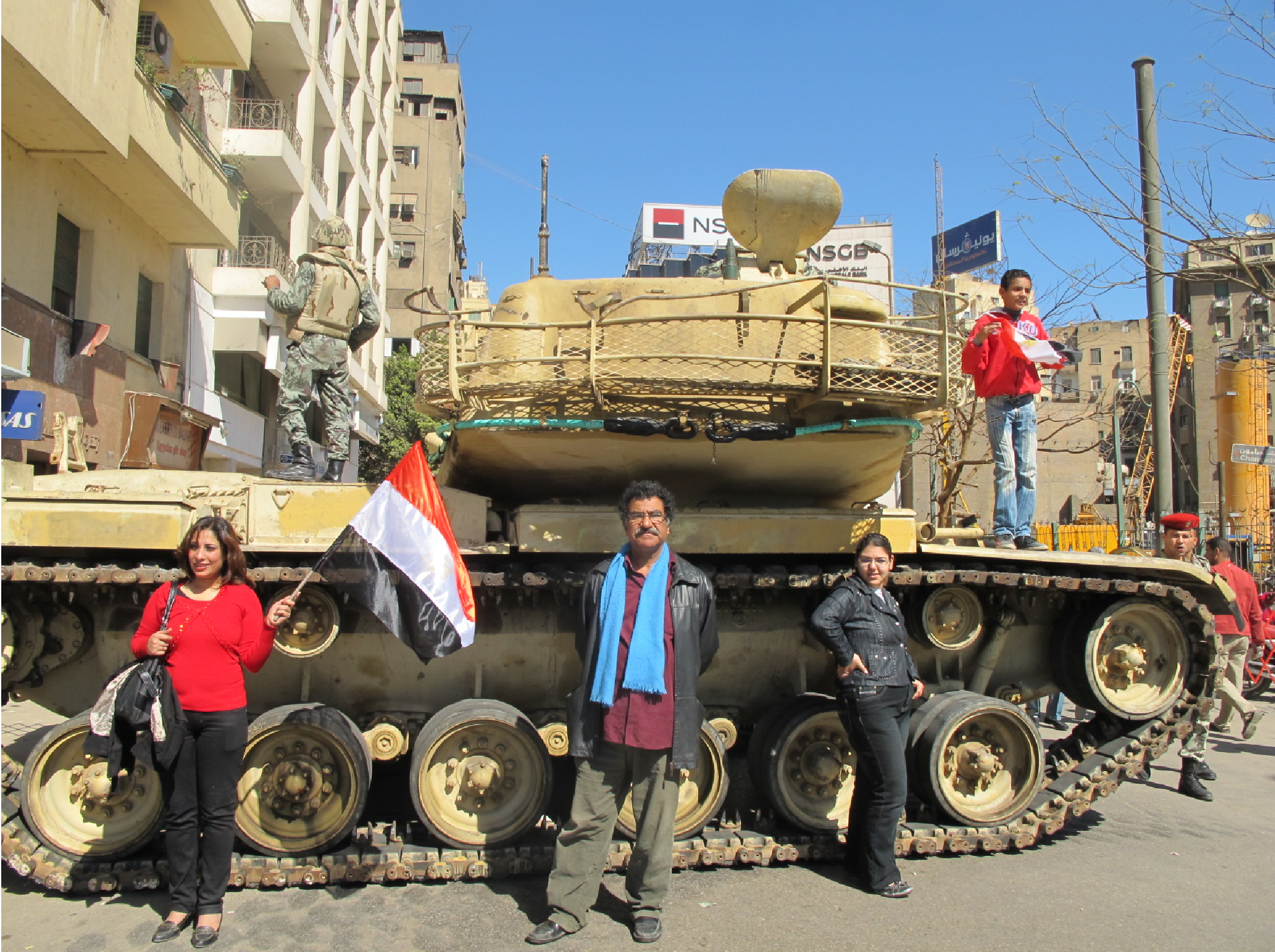 Abla in front of tank 2011 Cairo
